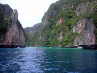 The sheltered bays of Koh Phi Phi Lay attract lots of boats
