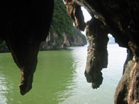 The limestone islands of Phang Nga Bay have many caves and hongs