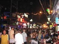 Bangla Road at night is lights, noise and action