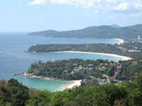 Kata Viewpoint looking across Kata Noi, Kata and Karon Beaches