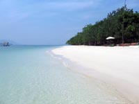 Koh Rang Yai has a lovely beach with clear inviting water