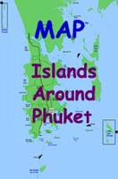 Map showing locations of the islands around Phuket