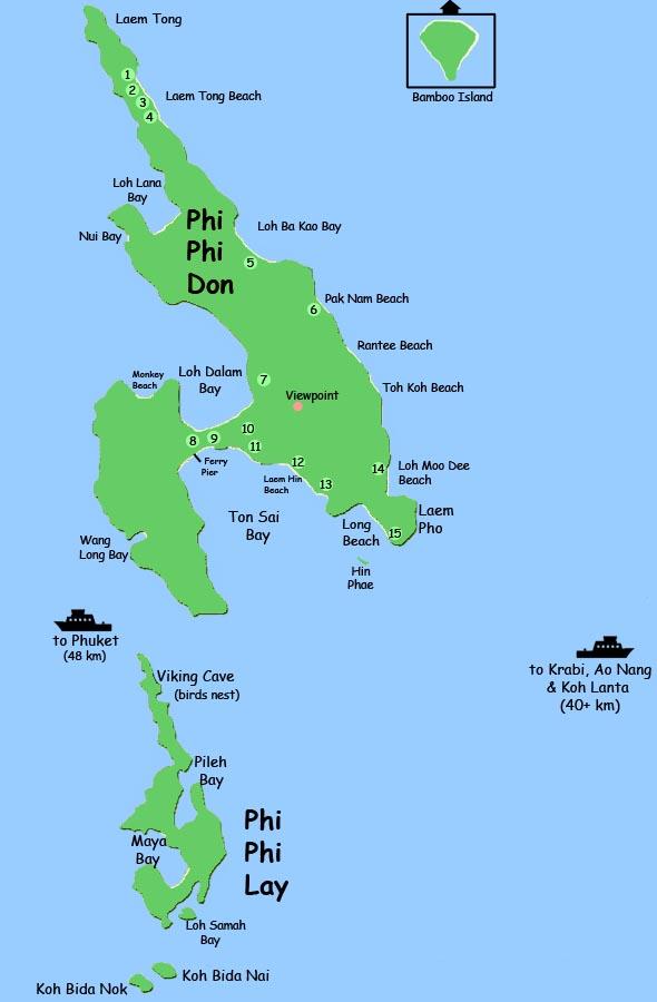 Pipi Island Map Phuket   Map Phi Phi Island