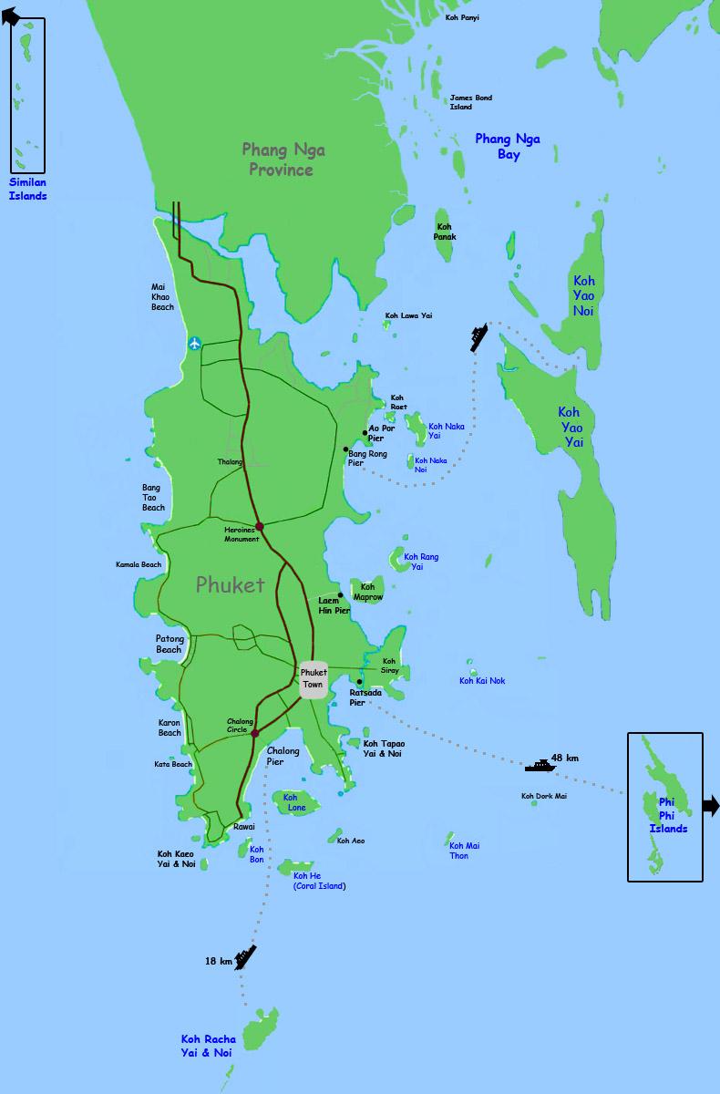 Phuket - Map of Islands Around Phuket